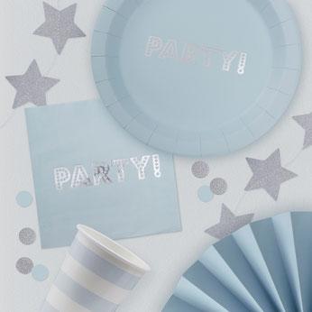 anniversaire-bleu-et-argent-assiettes-serviettes-gobelets