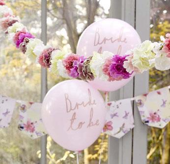"6 Ballons evjf rose pastel ""Bride to be ""doré"