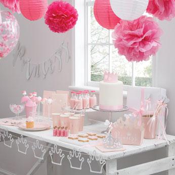 anniversaire-fille-theme-princesse-rose-argent