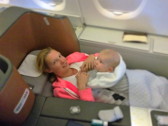 Mit Baby in der Business Class im Lufthansa A380-Flieger