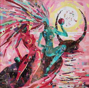 """Dehtiar Svetlana, """"Die Entführung der Eva's"""", Collage,  70 x 70 cm, 2012, gerahmt"""