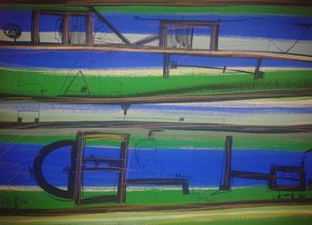 """Frenkel Vladimir, """"Ohne Titel"""", Mischtechnik auf Papier, 68,5 x 48,5 cm, 2013, gerahmt"""