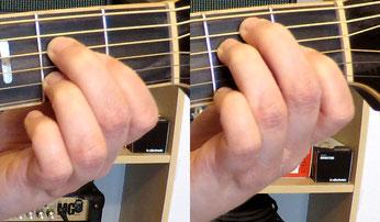 Nahaufnahmen des Griffbretts einer Westerngitarre, die Greifhand greift im ersten Bild den A-Dur und im zweiten Bild den E-Dur-Akkord