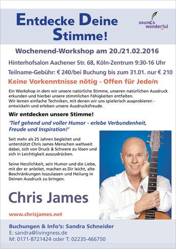 Chris James Entdecke deine Stimme Wochenende-Workshop Köln