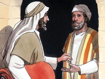 Le bon Samaritain de la célèbre parabole de Jésus donne de l'argent à l'aubergiste pour qu'il s'occupe de l'homme agressé et laissé pour mort