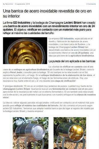 article tecnovino gd industries leclerc briant barrique en or