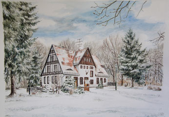 Forsthaus Siehdichum - Aquarell - 30x40cm