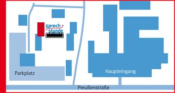 Lageplan der Praxis Sprechstunde auf dem Gelände des Lukaskrankenhauses.