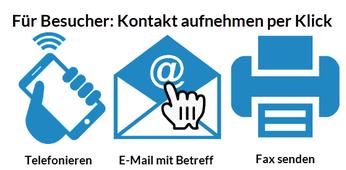 BILD: Für Besucher der Firmenhomepage | Kontakt aufnehmen per Klick | Telefonieren, E-Mail mit Betreff, Fax senden