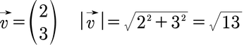 Beispiel für den Betrag eines Vektors in 2D