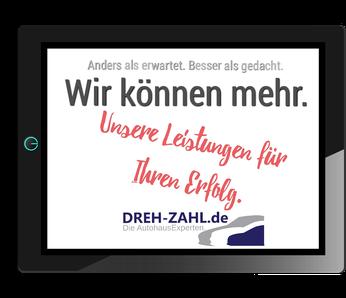 Tablet-Bildschirm mit dem Menüpunkt Portfolio und Leistungen