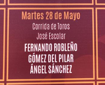 Toros d'Escolar Gil pour Fernando Robleño, Gomez del Pilar et Angel Sanchez