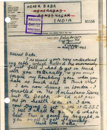 1942 letter from Delia to Baba in India.  Note the address on the letter.