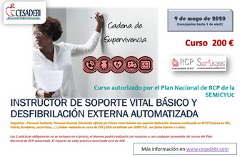 curso instructos soporte vital y desfibriladores Plan Nacional RCP SEMICYUC. Profesor RCP