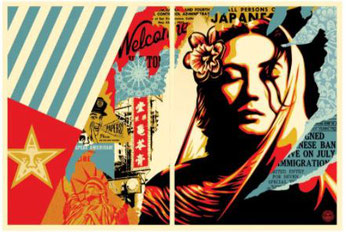 Shepard Fairey,  Welcome Visitors,  (Diptych), 2017