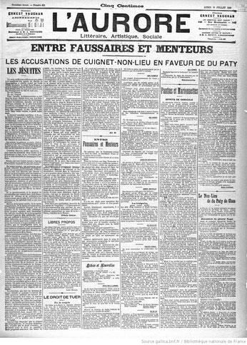 """""""l'Aurore"""" 31 juillet 1899 (Gallica) p.3"""