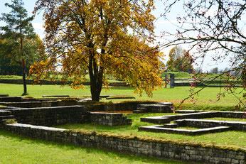 Das römische Kastell Abusina zeigt sich im Herbst mit prächtigen Farben.