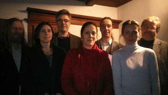 Die Akteure der Veranstalung v.l.n.r.: Uwe Lammla, Kerstin Klare, Hansjörg Rothe, Viola Grandke, Dietmar Schulze, Daniela Krien, Gregor Miklis. Foto: Oliver Guntner