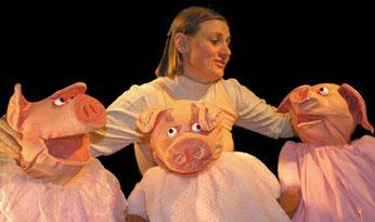 Die 3 kleinen Schweinchen, Puppenspiel mit Maria Dürrhammer