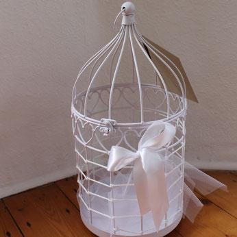 Kartenbox für Karten und Glückwünsche zur Hochzeit als Vogelkäfig zum Ausleihen