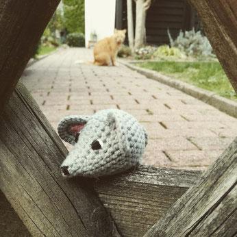 gehäkelte Maus handgemacht Kuscheltier