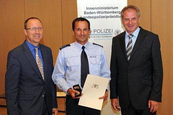 Landespolizeipräsident Gerhard Klotter, Theo Hunger, Innenminister Reinhold Gall