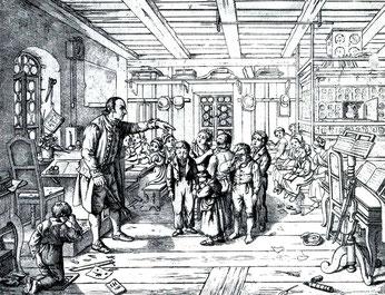 """Ludwig Richter: """"In einer Dorfschule"""". 1836"""
