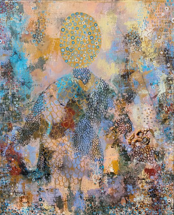 La dentellière, acrylique, marouflage,  61 x 50cm