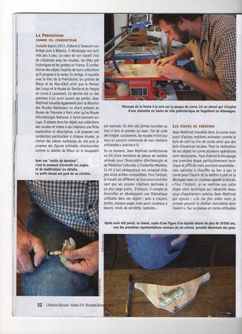 suite de l'article de l'Ariégeois Magazine N°214 présentant le travail de Jean Mathivet dans son Atelier de Belesta - Ariège -