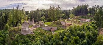 Heutige Ansicht der Burg Pořešín
