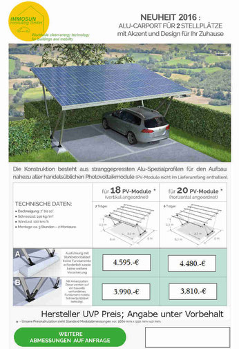 Carport für zwei Autos mit der Option Ladestation für Elektro Autos. Besonderheit mit Stahlbeton - Fuß Vorteil kein extra Fundament oder Bauseitigen Fundament.  Hersteller Bildquelle Firma  IMMOSUNconsulting GmbHWorldwide Clean-Energy technology Carpot
