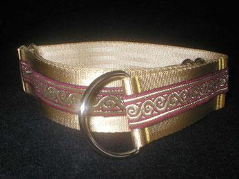 Zugstopp, Halsband, 4cm, Gurtband champagnerfarben, Borte Wellenranke