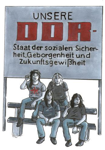 Bild aus dem Comic Todesstreifen,erschienen im Christoph-Links-Verlag