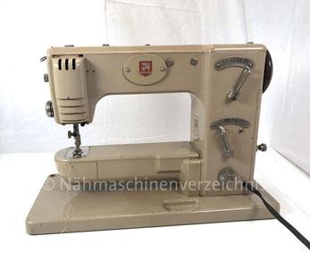 Gritzner FZ, Automatic mit Schablonen, Freiarm mit Einbaumotor, Hersteller:  Fa. Brütsch & Co., Zürich, Schweiz  (Bilder: Nähmaschinenverzeichnis)