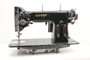Kayser HZB (baugleich Gritzner HZB), ZZ-Flachbettnähmaschine mit Umlaufgreifer und Königswelle, Hersteller: Gebrüder Kayser AG, Kaiserslautern (Bilder: Nähmaschinenverzeichnis)