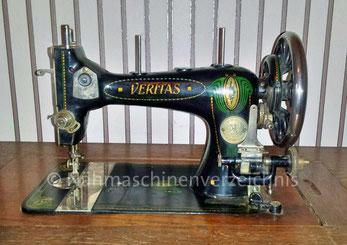 Veritas B (oder C) Schwingschiffchen-Nähmaschine, Geradestich, Flachbett mit Kurbelantrieb, hergestellt ab ca. 1902, Hersteller: Clemens Müller, Dresden (Bilder:  Ina S.)