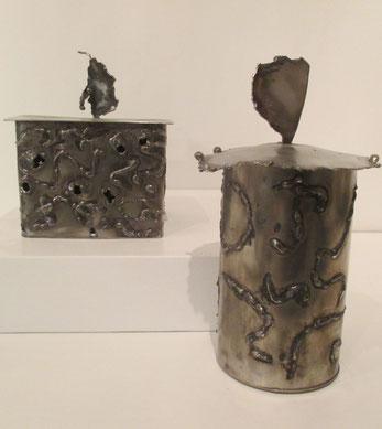 boîtes en acier inoxydable rond et carré, travaillées à la soudure à l'arc