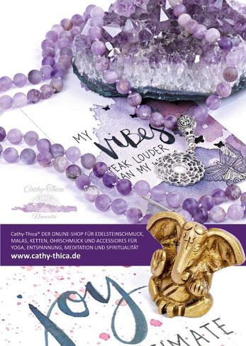 Rückseite Magazin Namasté mit PR Cathy Thica