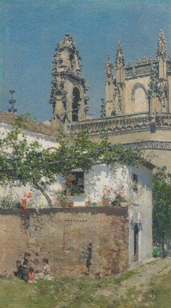 Martín Rico 1871.Granada. Se instaló en esta ciudad junto a sus amigos Fortuny y Madrazo, hizo de su pintura mas colorista y brillante aplicando toques cortos y precisos. El campanario barroco es añadido por el artista.