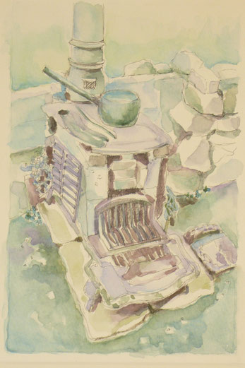 "The modern Mistress stove (from ""Cocoa and Crabs  A Hebridean Childhood by F. MacDonald) 32.5cmx26.5cm"