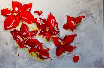Rote Blüten, Acryl auf Leinwand, JULIA! Neulinger-Kah