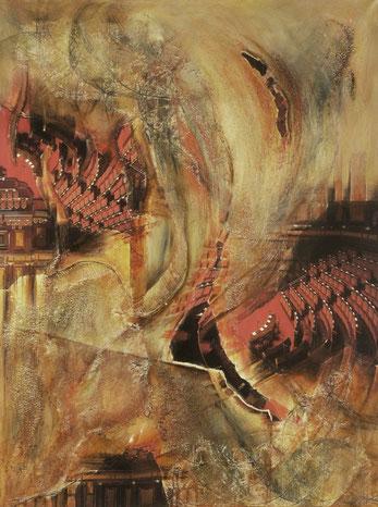Rondo, Collage auf Leinwand, 60 x 80 cm