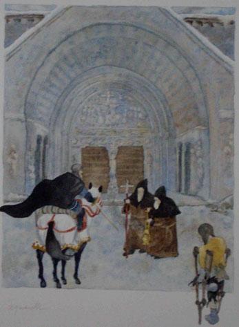 devant l'Abbatiale de Beaulieu s/Dordogne