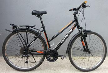 Trekkingrad Damen von Hercules, schwarz-orange