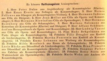 Bekanntmachung der Reifezeugnisse am Kölner Konservatorium, Jahresbericht 1903 (vergrösserbar durch Klick auf Foto)