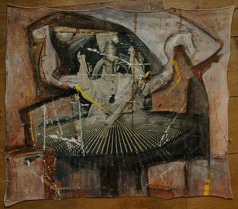 Collage et acrylique sur toile 67x 75