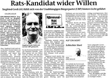 Artikel in der STIMBERG ZEITUNG am 11. April 2014: Rats-Kandidat wider Willen