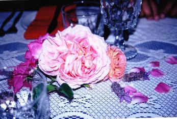 香り立つオールドローズ&ラベンダーのテーブルで        photo by Mieko Komatsu