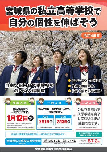 宮城県私立高校,入試日程,推薦入試,一般入試,二次入試