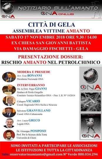conferenza gela novembre dossier rischio amianto